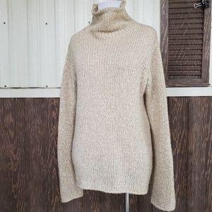 Weekend Max Mara mockneck sweater tan oatmeal sz L